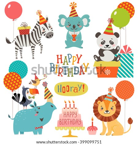Set of cute animals for birthday design - stock vector