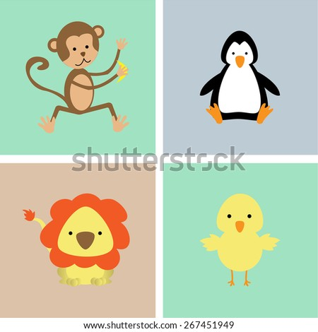 Set of cute animals on a colored backgrounds. Vector illustration - stock vector