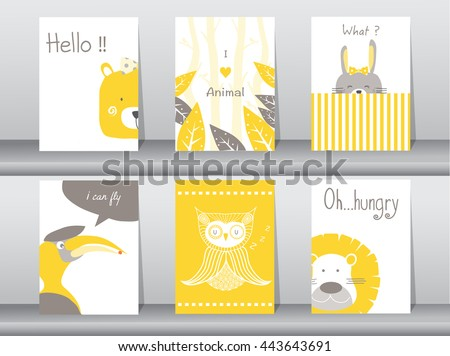 Set of cute animals poster,template,cards,bear,bird,lion,rabbit,zoo,Vector illustrations  - stock vector