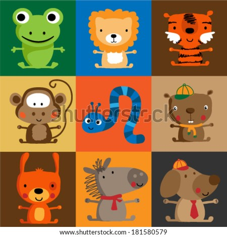 Set of Cute animals. Vector illustration. - stock vector
