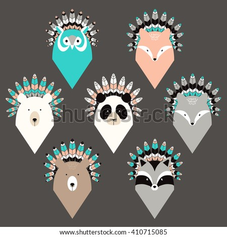 Set of cute animals with feathers - stock vector