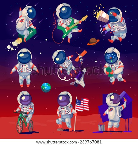 Set of cute astronauts in space, working and having fun. Isolated images. - stock vector