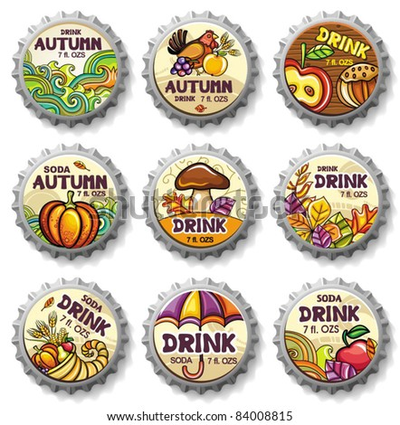 Set of cute autumnal bottlecaps - stock vector