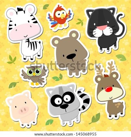 set of cute baby animals looks like stickers on seamless tracks background, in vector format very easy to edit, individual objects - stock vector