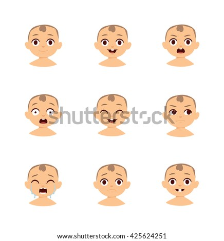 Set of cute baby emoticons. Baby emoticons flat characters, emoji expressive cartoon baby girl faces and baby emoticons, cheerful sign love emoji cute cheeks. Modern little boy funny vector style. - stock vector