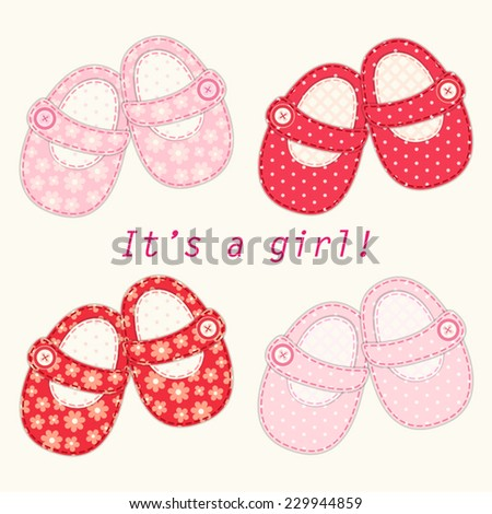 Set of cute baby girl shoes as retro fabric applique, ideal for baby shower - stock vector
