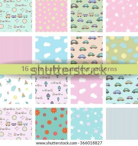 Set Of 16 Cute Baby Seamless Pattern Retro Pink White And Blue Colors