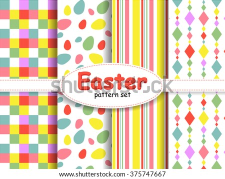 Set cute background patterns spring colors stock vector 375747667 set of cute background patterns in spring colors for baby easter gift wrapping paper negle Image collections