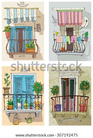 Italian window stock images royalty free images vectors for Balcony cartoon