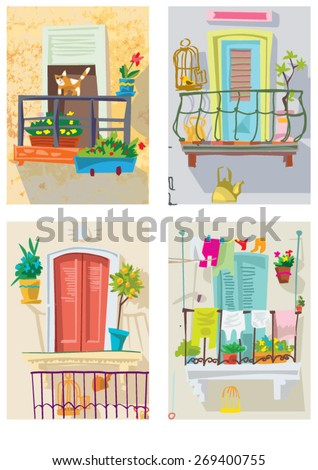 set of cute balconies - cartoon vector - stock vector