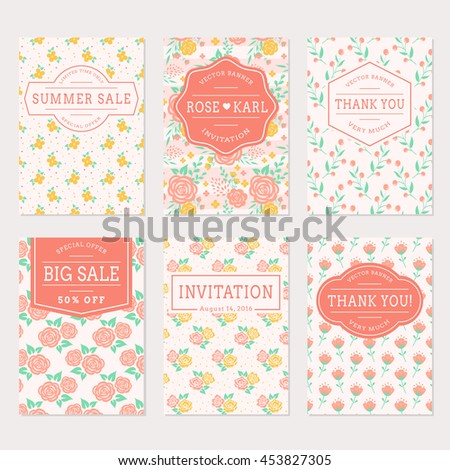 Set of cute banners with floral background. Wedding invitations, thank you cards and sale labels. Vector templates collection in white, pink, yellow and turquoise colors.