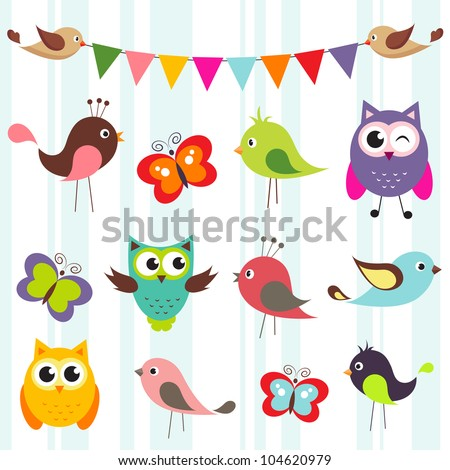 set of cute birds and butterflies - stock vector