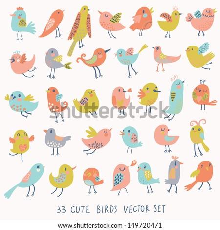 Set of 33 cute birds in vector. Cartoon collection with funny little bird family. - stock vector