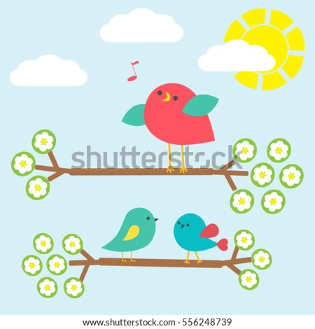 Set of cute birds on springtime branches. Vector illustration.