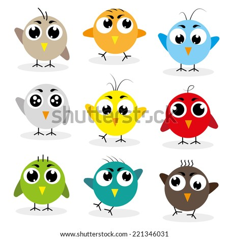 Set of cute birds with different emotions - stock vector