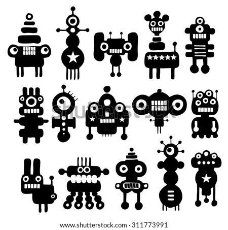 Set of cute black and white monsters. Vector illustration. - stock vector