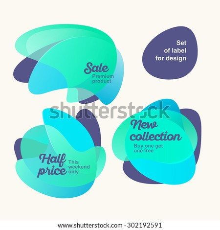 Set of cute blue color labels for design on a light background - stock vector