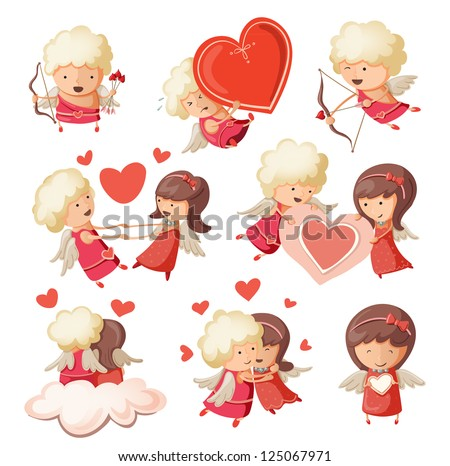 Set of cute boy and girl cupids. - stock vector