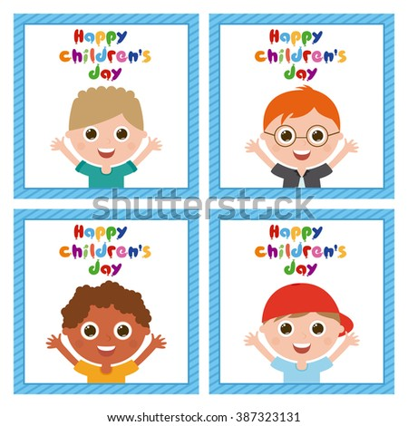 Set of cute boys on similar textured backgrounds - stock vector