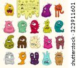 Set of cute bright monsters and aliens with many eyes. Cartoon funny doodle monster collection. Hand drawn vector for kids. All objects grouped  and isolated on white.  - stock photo