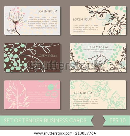 Set cute business cards templates vector stock vector 213857764 set of cute business cards templates vector illustration cheaphphosting Images