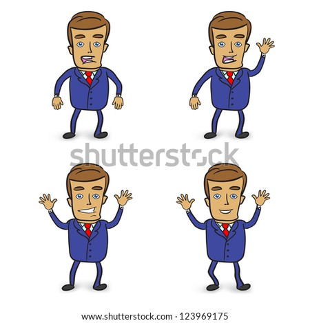 set of cute businessmans on a white background