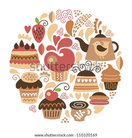 set of cute cakes - stock vector
