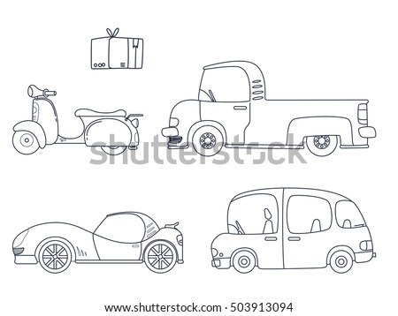 Set Of Cute Car Coloring Page Illustration For Kids Scooter Collection