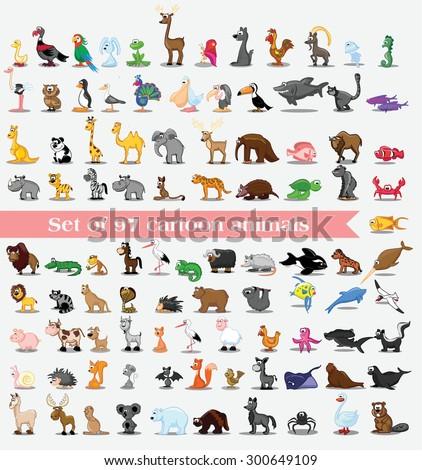 Set of cute cartoon animals - stock vector