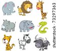 Set of cute cartoon animals. A rhino,lion,giraffe,elephant,hippo,snake,leopard,zebra and buffalo - stock vector