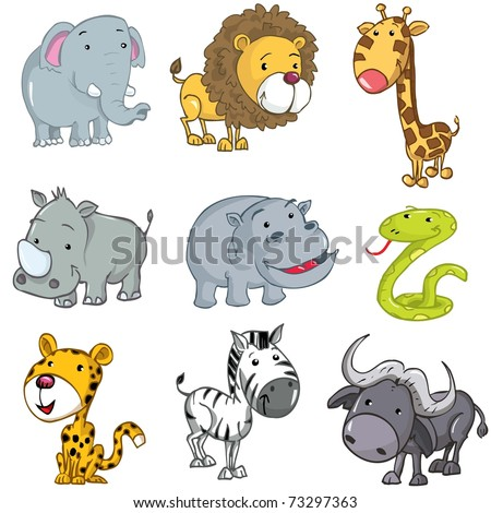 Set of cute cartoon animals. A rhino,lion,giraffe,elephant,hippo,snake,leopard,zebra and buffalo - stock vector