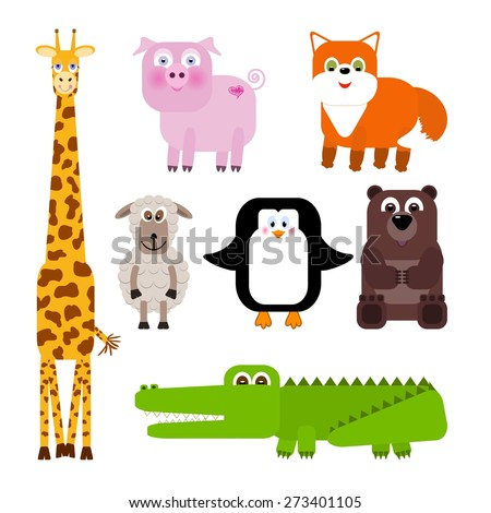 Set of cute cartoon animals - vector illustration - stock vector