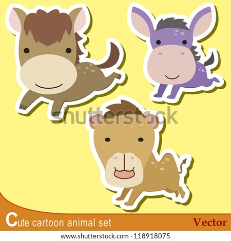 set of cute cartoon animals with horse, donkey,and camel. - stock vector