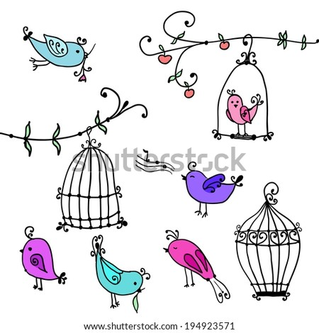 set of cute cartoon birds and branches of trees with bird's cages - stock vector