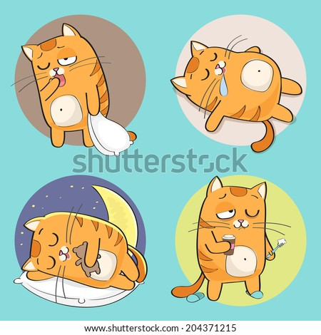 Set of cute cartoon cat in various poses - stock vector