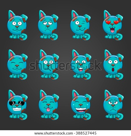 Set of cute cartoon fantastic animal like a dog with different emotions. - stock vector