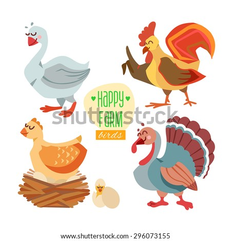 Set of cute cartoon farm birds: goose, rooster, chicken and turkey. Part one. Vector illustration - stock vector