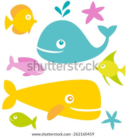 Set of cute cartoon fishes - stock vector