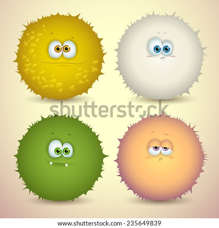 Set of cute cartoon fluffy monsters with different emotions and colors, for games. Vector illustration - stock vector