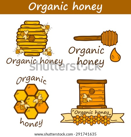 Set of cute cartoon hand drawn templates on beekeeping theme: bee, honey, flowers, bee hat, bee spoon, beehive. Farm or eco concept. You can use it for farm products site, app, shop, logo, emblem - stock vector