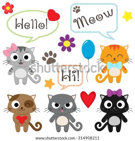 Set of cute cartoon kittens. Vector illustration - stock vector