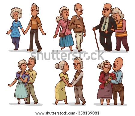Set of cute cartoon old couples. They live together all their lives. They love together very much. Their love can lives forever. Done in cute hand drawn style.  vector illustration - stock vector