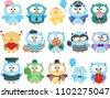 set of cute cartoon owl clipart.