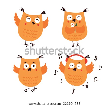 Set of cute cartoon owls in vector for greeting card and invitation - stock vector