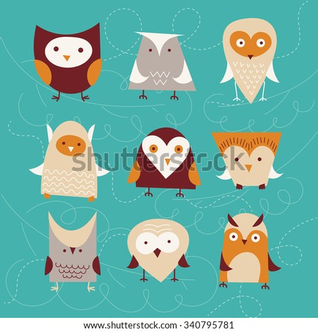 set of cute cartoon owls. vector - stock vector
