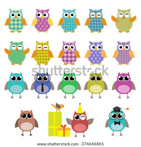 Set of cute cartoon owls with various emotions  - stock vector