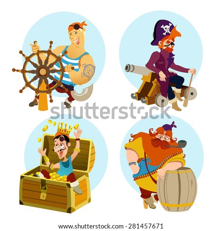 Set of cute cartoon pirates men isolated on white background. - stock vector