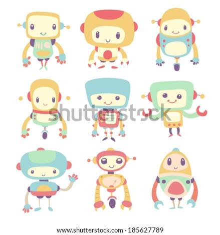 Set of Cute Cartoon Robots - stock vector