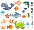 Set of cute cartoon sea animals on white background - stock vector