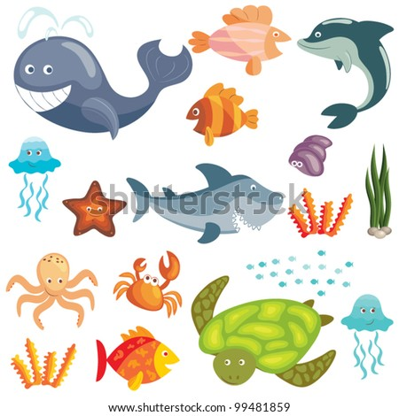 Set of cute cartoon sea animals on white background - stock vector
